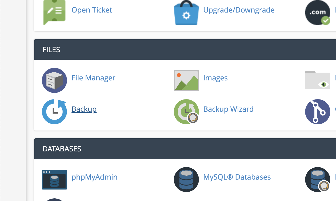 An image showing the backup feature under the Files section of cPanel