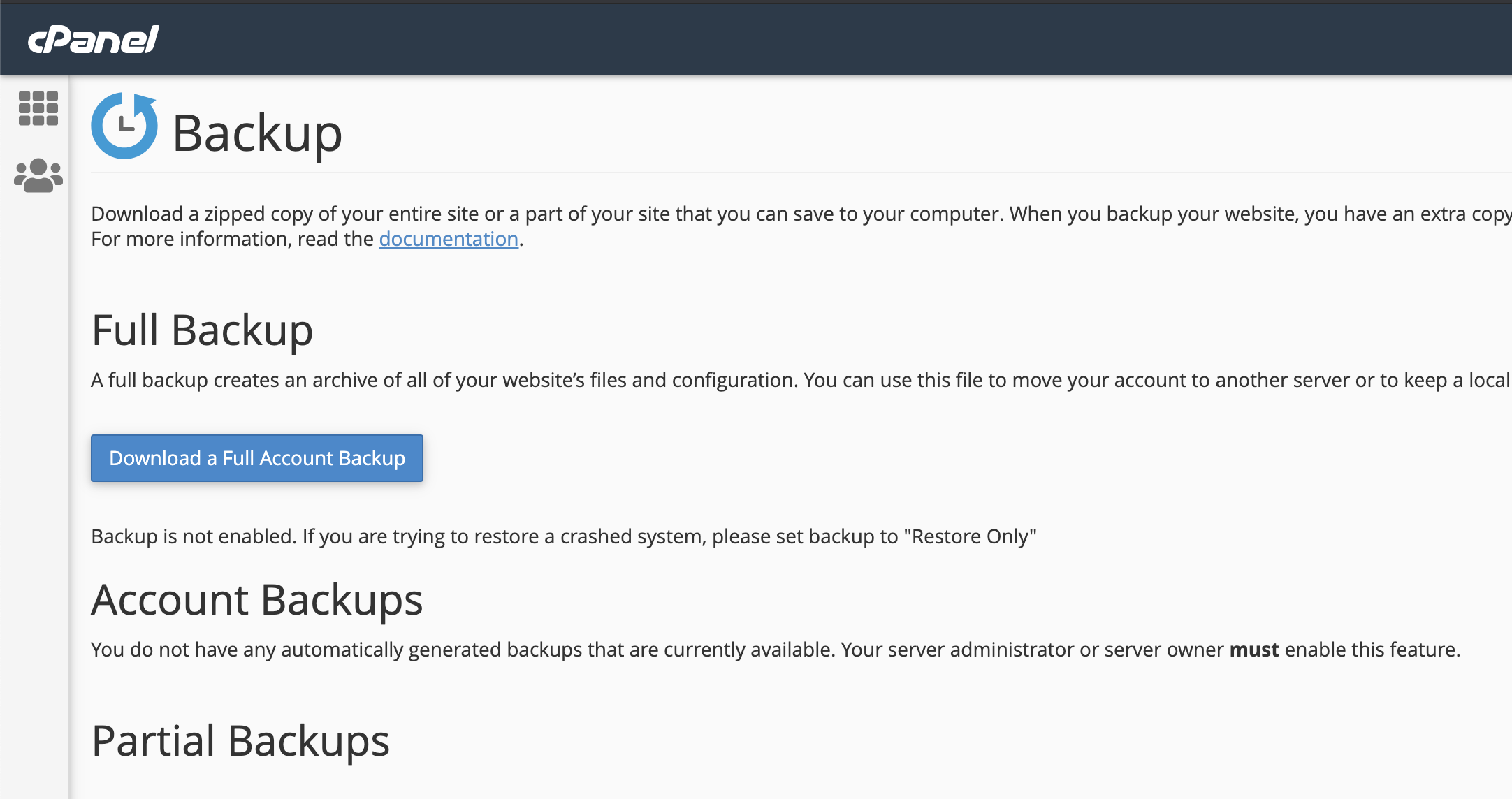 An image showing the option to download a full backup within cPanel