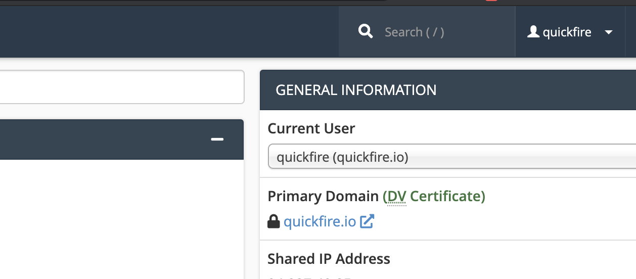 An image showing the search function at the top of the cPanel interface